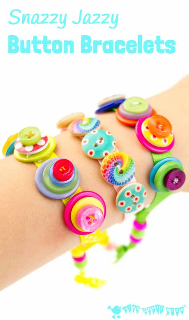Easy Crafts for Kids - Snazzy Jazzy Button Bracelets - Quick DIY Ideas for Children - Boys and Girls Love These Cool Craft Projects - Indoor and Outdoor Fun at Home - Cheap Playtime Activities https://diyjoy.com/best-easy-crafts-for-kids