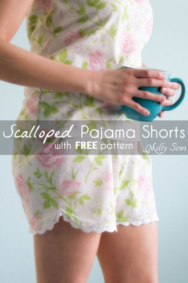 DIY Nightgowns and Sleepwear - Women's Pajama Shorts - Easy Sewing Projects for Cute Nightshirts, Tshirts, Gowns and Pajamas - Free Patterns and Step by Step Tutorials https://diyjoy.com/diy-nightgowns-sleepwear