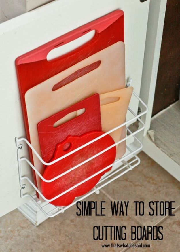 DIY Pantry Organizing Ideas - Cutting Board Storage - Easy Organization for the Kitchen Pantry - Cheap Shelving and Storage Jars, Labels, Containers, Baskets to Organize Cans and Food, Spices