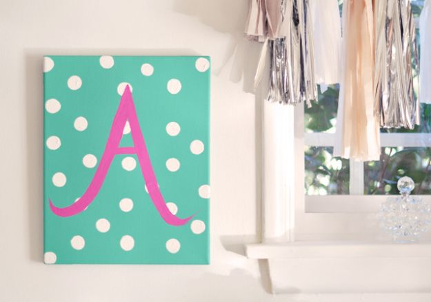 DIY Nursery Decor Ideas for Girls - DIY Baby Monogram - Cute Pink Room Decorations for Baby Girl - Crib Bedding, Changing Table, Organization Idea, Furniture and Easy Wall Art