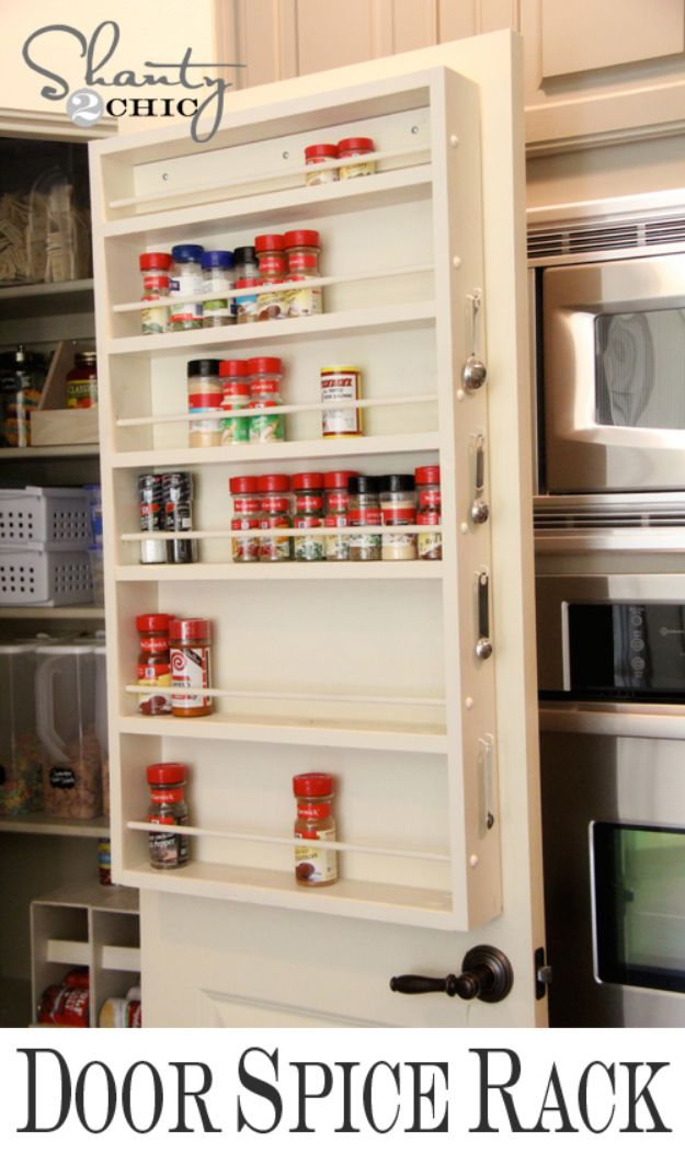 DIY Pantry Organizing Ideas - DIY Door Spice Rack - Easy Organization for the Kitchen Pantry - Cheap Shelving and Storage Jars, Labels, Containers, Baskets to Organize Cans and Food, Spices