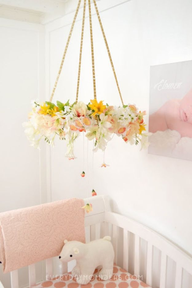 DIY Nursery Decor Ideas for Girls - DIY Floral Baby Mobile Chandelier - Cute Pink Room Decorations for Baby Girl - Crib Bedding, Changing Table, Organization Idea, Furniture and Easy Wall Art