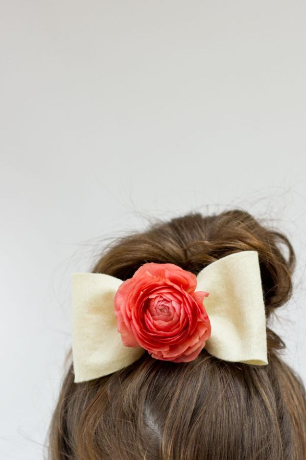 Fun DIY Ideas for Adults - DIY Fresh Flower Hair Bows - Easy Crafts and Gift Ideas , Cool Projects That Are Fun to Make - Crafts Idea for Men and Women