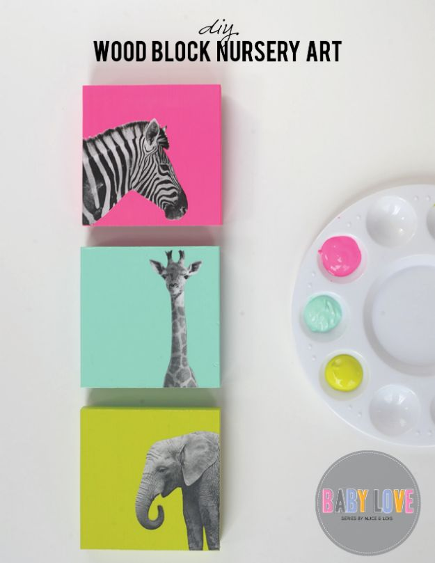 DIY Nursery Decor Ideas for Girls - DIY Painted Wood Block Nursery Art - Cute Pink Room Decorations for Baby Girl - Crib Bedding, Changing Table, Organization Idea, Furniture and Easy Wall Art