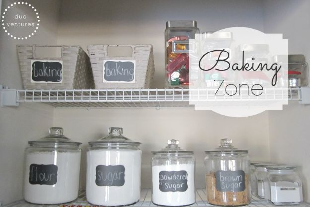 DIY Pantry Organizing Ideas - Designate A Baking Zone - Easy Organization for the Kitchen Pantry - Cheap Shelving and Storage Jars, Labels, Containers, Baskets to Organize Cans and Food, Spices