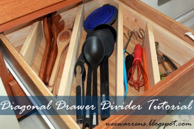 DIY Pantry Organizing Ideas - Diagonal Drawer Divider - Easy Organization for the Kitchen Pantry - Cheap Shelving and Storage Jars, Labels, Containers, Baskets to Organize Cans and Food, Spices