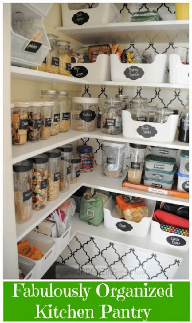 DIY Pantry Organizing Ideas - Fabulously Organized Kitchen Pantry - Easy Organization for the Kitchen Pantry - Cheap Shelving and Storage Jars, Labels, Containers, Baskets to Organize Cans and Food, Spices