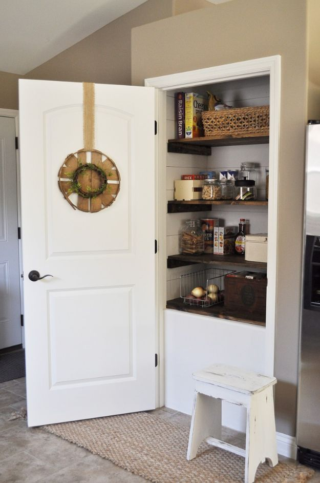 DIY Pantry Organizing Ideas - Farmhouse Pantry Makeover - Easy Organization for the Kitchen Pantry - Cheap Shelving and Storage Jars, Labels, Containers, Baskets to Organize Cans and Food, Spices