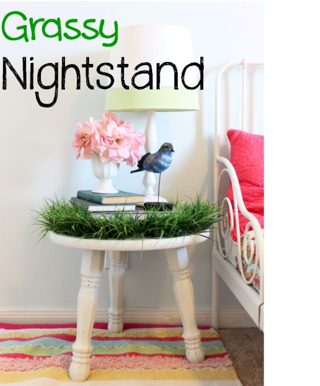 DIY Nursery Decor Ideas for Girls - Grassy Nightstand Makeover - Cute Pink Room Decorations for Baby Girl - Crib Bedding, Changing Table, Organization Idea, Furniture and Easy Wall Art