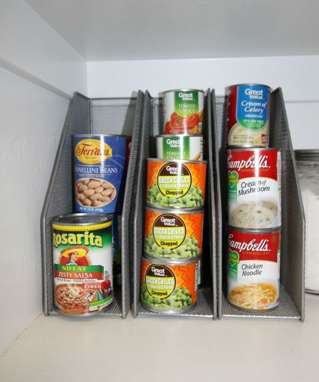 DIY Pantry Organizing Ideas - Magazine Racks To Organize Canned Goods - Easy Organization for the Kitchen Pantry - Cheap Shelving and Storage Jars, Labels, Containers, Baskets to Organize Cans and Food, Spices