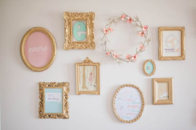 DIY Nursery Decor Ideas for Girls - Mix and Match Frames - Cute Pink Room Decorations for Baby Girl - Crib Bedding, Changing Table, Organization Idea, Furniture and Easy Wall Art