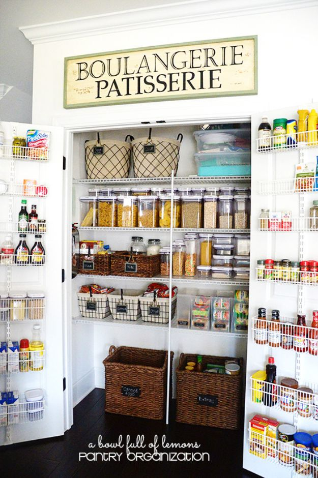 DIY Pantry Organizing Ideas - Pantry Organization Made Easy - Easy Organization for the Kitchen Pantry - Cheap Shelving and Storage Jars, Labels, Containers, Baskets to Organize Cans and Food, Spices