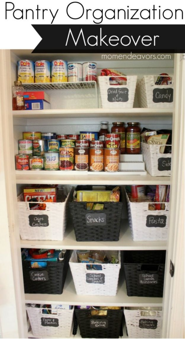 DIY Pantry Organizing Ideas - Pantry Organization Makeover - Easy Organization for the Kitchen Pantry - Cheap Shelving and Storage Jars, Labels, Containers, Baskets to Organize Cans and Food, Spices