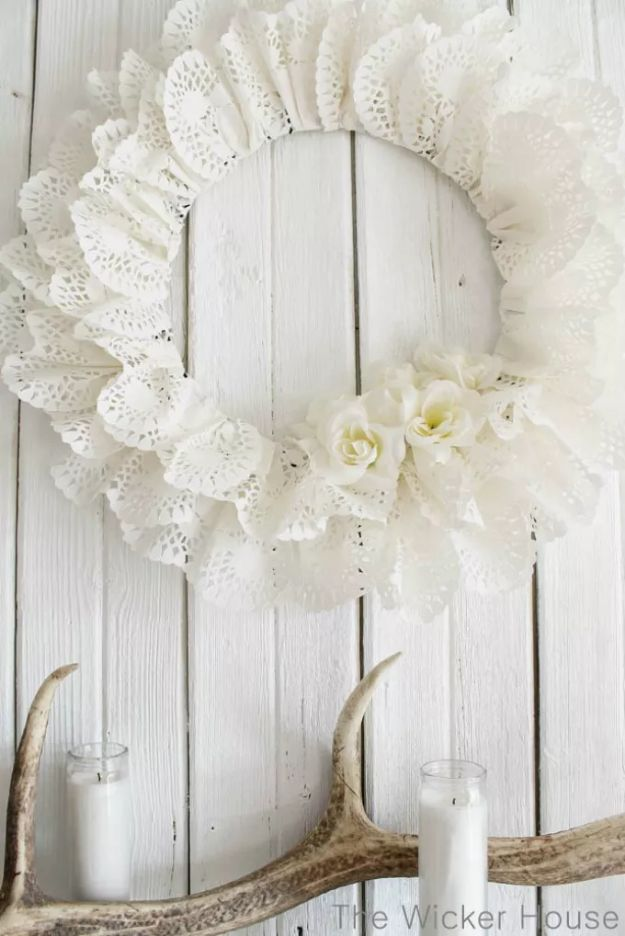 DIY Nursery Decor Ideas for Girls - Paper Doily Wreath - Cute Pink Room Decorations for Baby Girl - Crib Bedding, Changing Table, Organization Idea, Furniture and Easy Wall Art