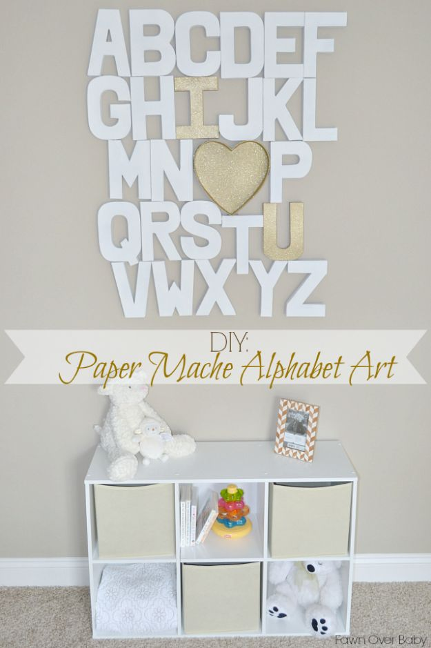 DIY Nursery Decor Ideas for Girls - Paper Mache Alphabet Wall - Cute Pink Room Decorations for Baby Girl - Crib Bedding, Changing Table, Organization Idea, Furniture and Easy Wall Art
