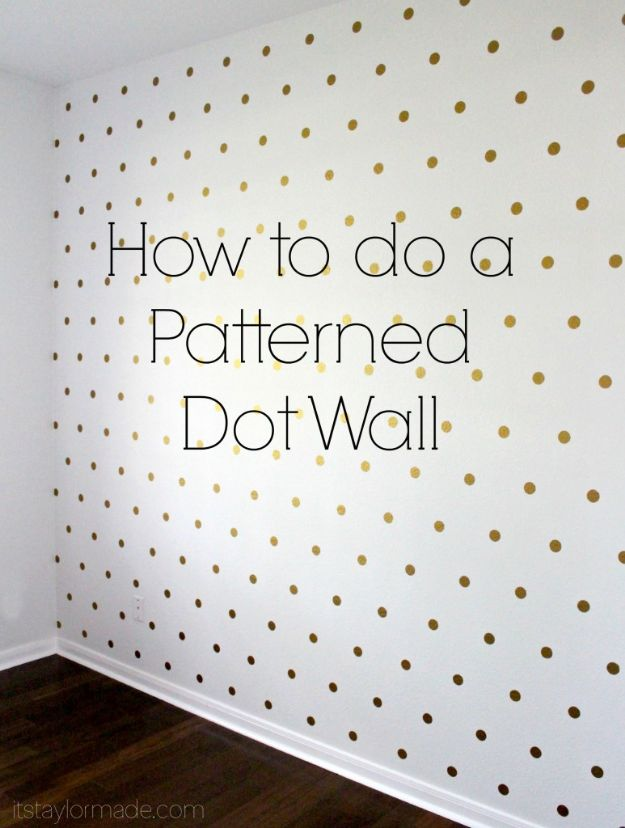 DIY Nursery Decor Ideas for Girls - Patterned Dot Wall - Cute Pink Room Decorations for Baby Girl - Crib Bedding, Changing Table, Organization Idea, Furniture and Easy Wall Art