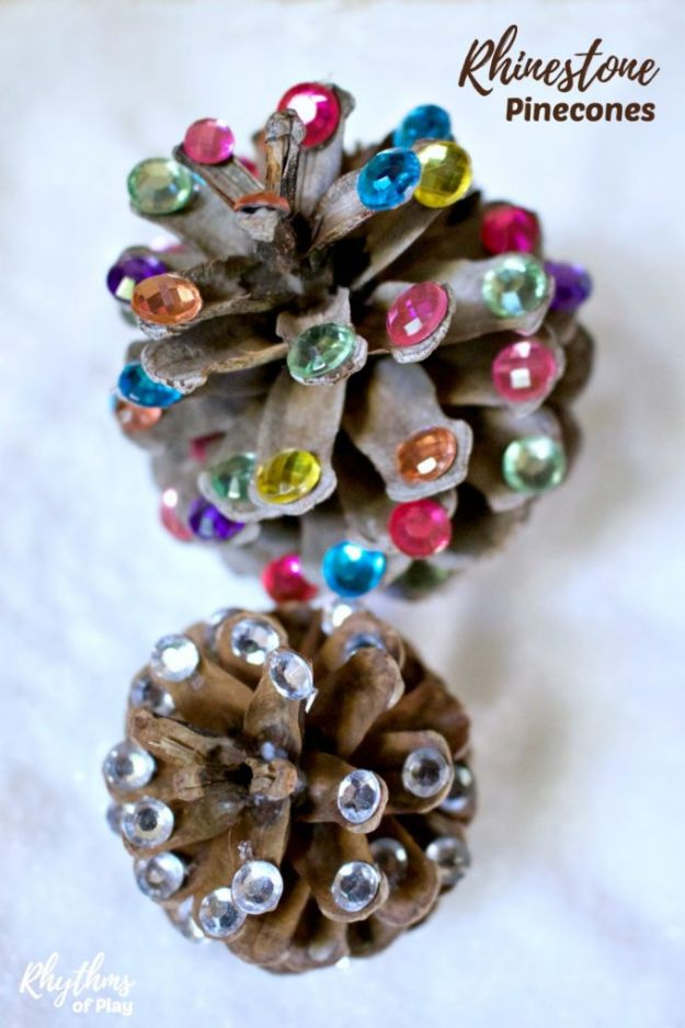 Fun DIY Ideas for Adults - Rhinestone Pinecones Nature Craft - Easy Crafts and Gift Ideas , Cool Projects That Are Fun to Make - Crafts Idea for Men and Women