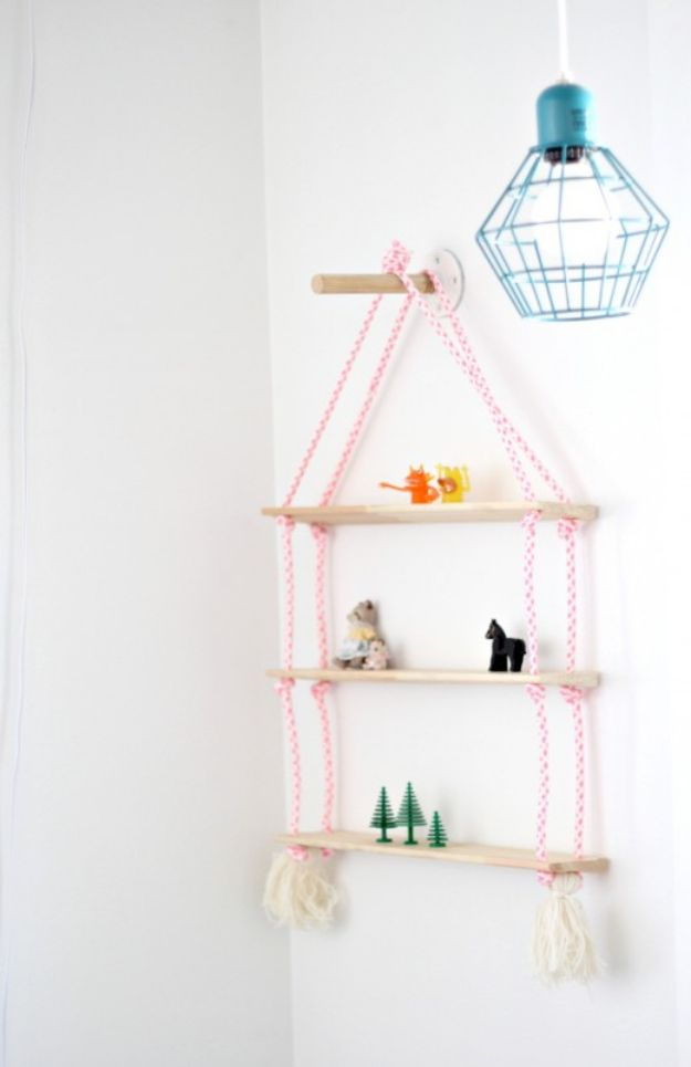 DIY Nursery Decor Ideas for Girls - Rope Shelf DIY - Cute Pink Room Decorations for Baby Girl - Crib Bedding, Changing Table, Organization Idea, Furniture and Easy Wall Art