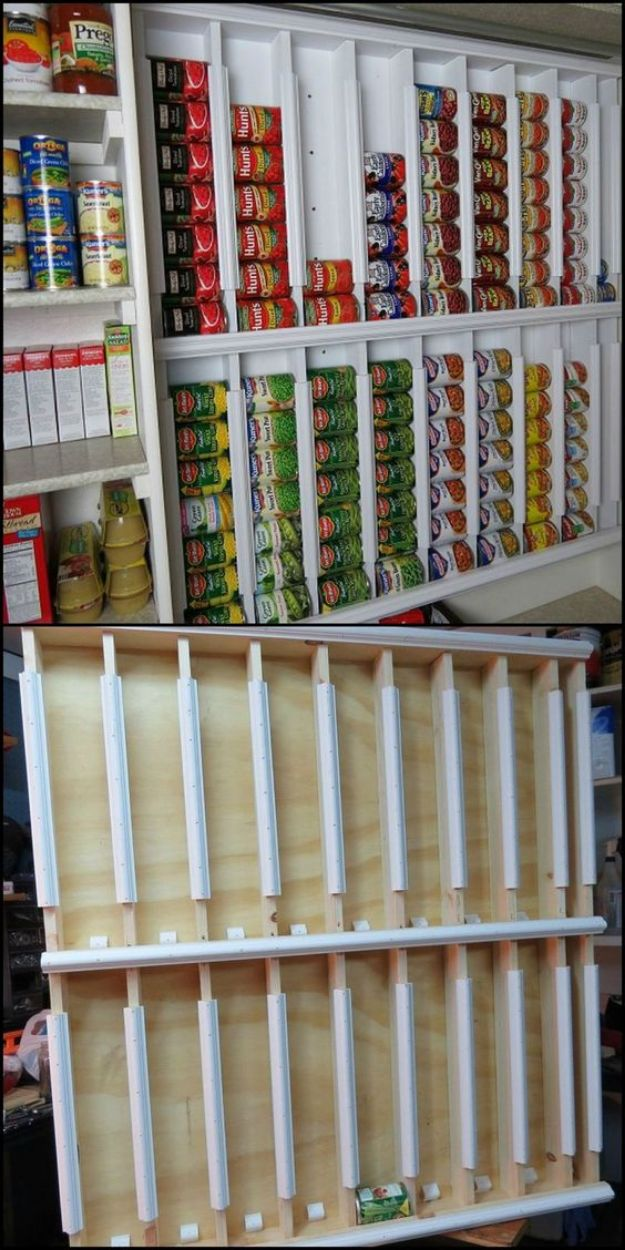 DIY Pantry Organizing Ideas - Rotating Canned Food System Shelves - Easy Organization for the Kitchen Pantry - Cheap Shelving and Storage Jars, Labels, Containers, Baskets to Organize Cans and Food, Spices