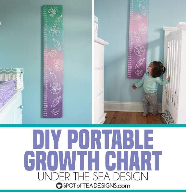 DIY Nursery Decor Ideas for Girls - Seashell Growth Chart - Cute Pink Room Decorations for Baby Girl - Crib Bedding, Changing Table, Organization Idea, Furniture and Easy Wall Art