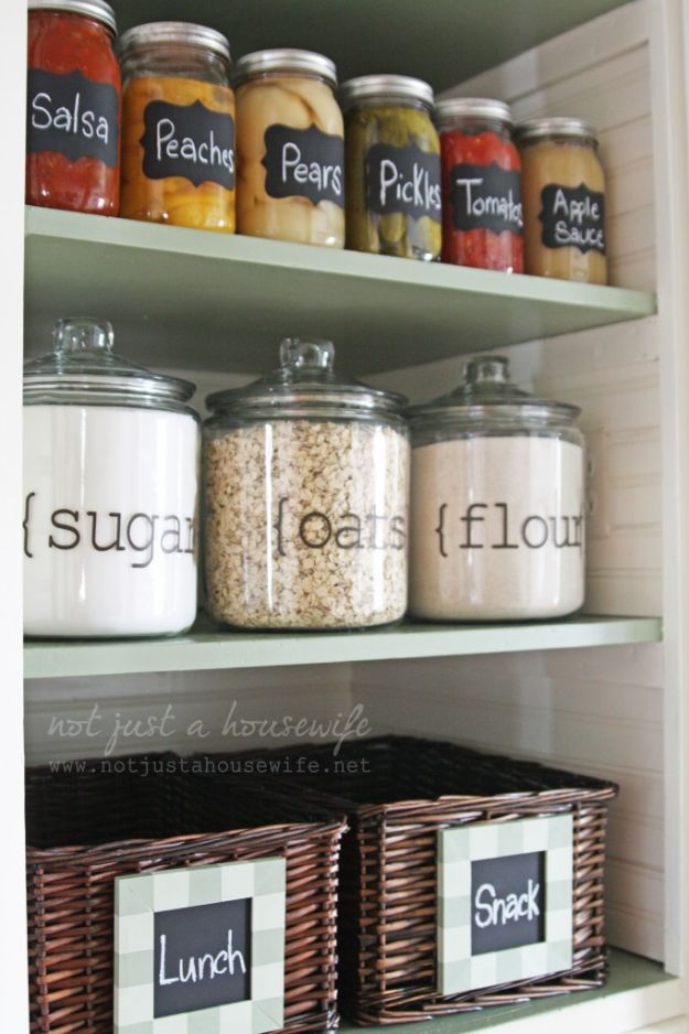 DIY Pantry Organizing Ideas - Simple Pantry Makeover - Easy Organization for the Kitchen Pantry - Cheap Shelving and Storage Jars, Labels, Containers, Baskets to Organize Cans and Food, Spices