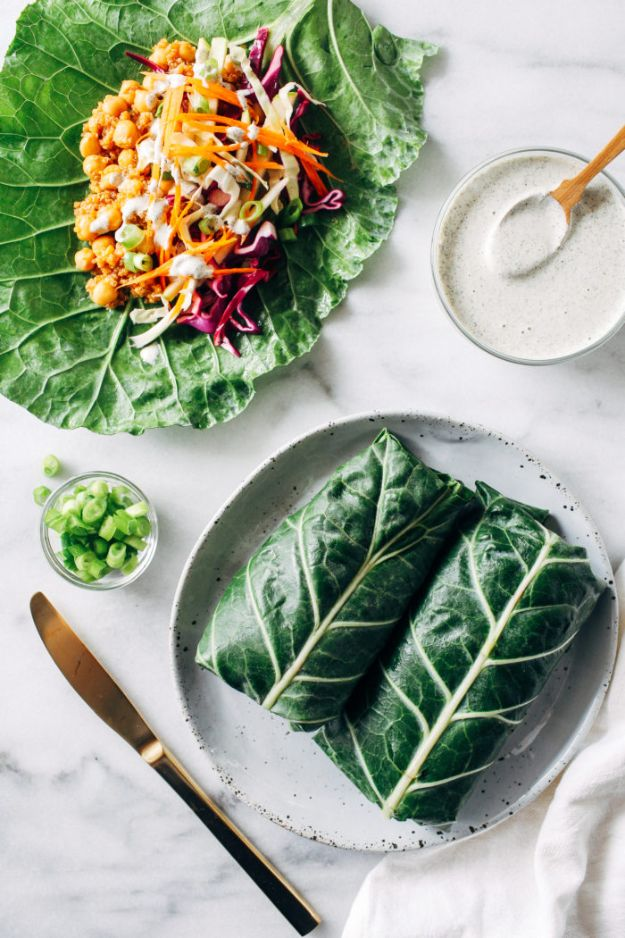 Recipes for Clean Eating - Barbecue Chickpea Collard Wraps with Hemp Ranch Dressing - Raw and Whole Foods, Unprocessed Meal and Snack Ideas for Lunch and Dinner - Fresh, Healthy Foods and Recipe Ideas