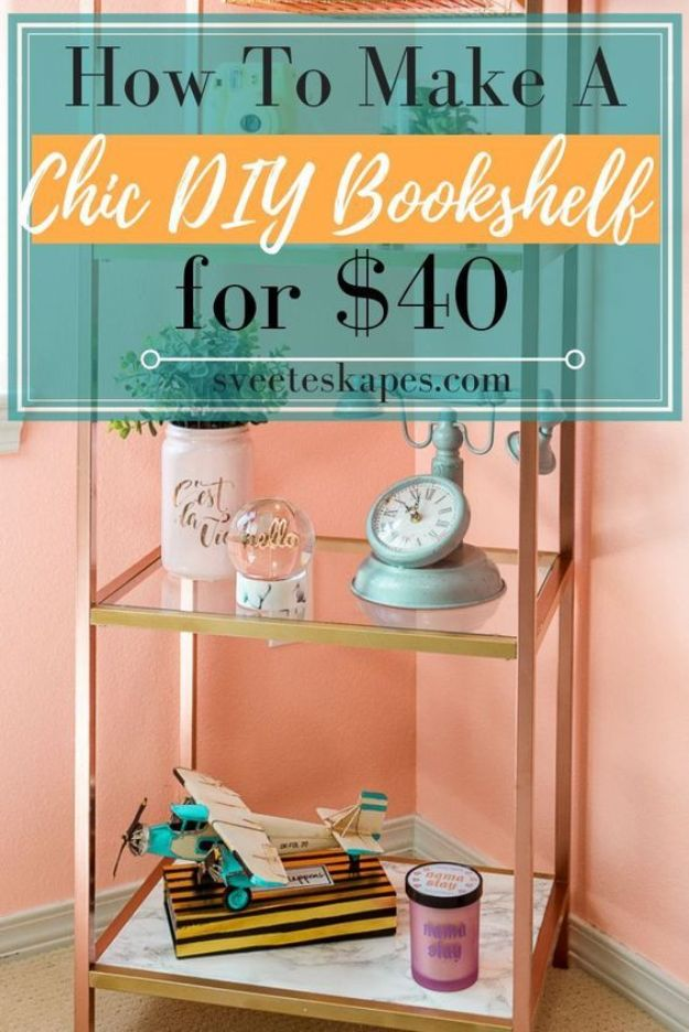 DIY Bookshelf Ideas - Cheap DIY Bookshelf for $40 - DYI Bookshelves and Projects - Easy and Cheap Home Decor Idea for Bedroom, Living Room - Step by Step tutorial #diy #diyideas #diydecor #homedecor