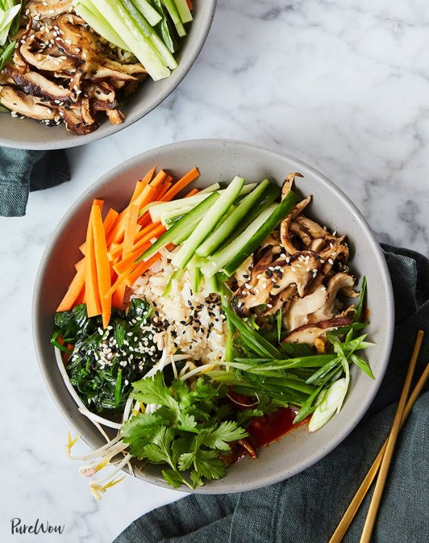 Recipes for Clean Eating - Clean Eating Bibimbap Bowls - Raw and Whole Foods, Unprocessed Meal and Snack Ideas for Lunch and Dinner - Fresh, Healthy Foods and Recipe Ideas