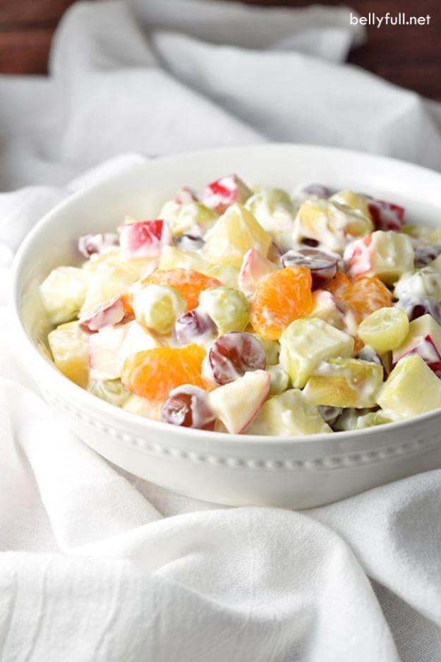 Potluck Recipe Ideas - Creamy Delicatessen Fruit Salad - Easy Recipes to Take To Potlucks - Dinner Casseroles, Salads, One Pot Meals, Pasta Dishes, Quick Crockpot Recipes