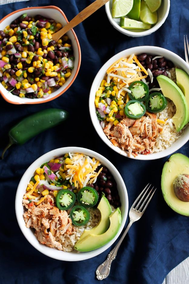 Recipes for Clean Eating - DIY Chicken Burrito Bowls - Raw and Whole Foods, Unprocessed Meal and Snack Ideas for Lunch and Dinner - Fresh, Healthy Foods and Recipe Ideas