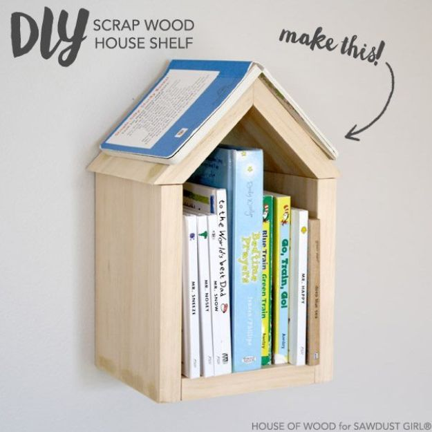 DIY Bookshelf Ideas - DIY Scrap Wood House Shelf - DYI Bookshelves and Projects - Easy and Cheap Home Decor Idea for Bedroom, Living Room - Step by Step tutorial #diy #diyideas #diydecor #homedecor