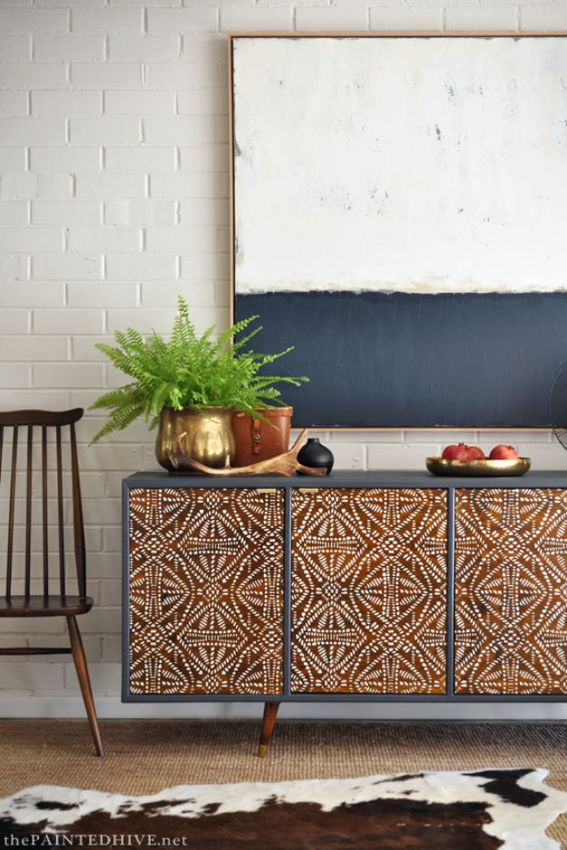 DIY Sideboards - DIY Tribal Sideboard - Easy Furniture Ideas to Make On A Budget - DYI Side Board Tutorial for Makeover, Building Wooden Home Decor