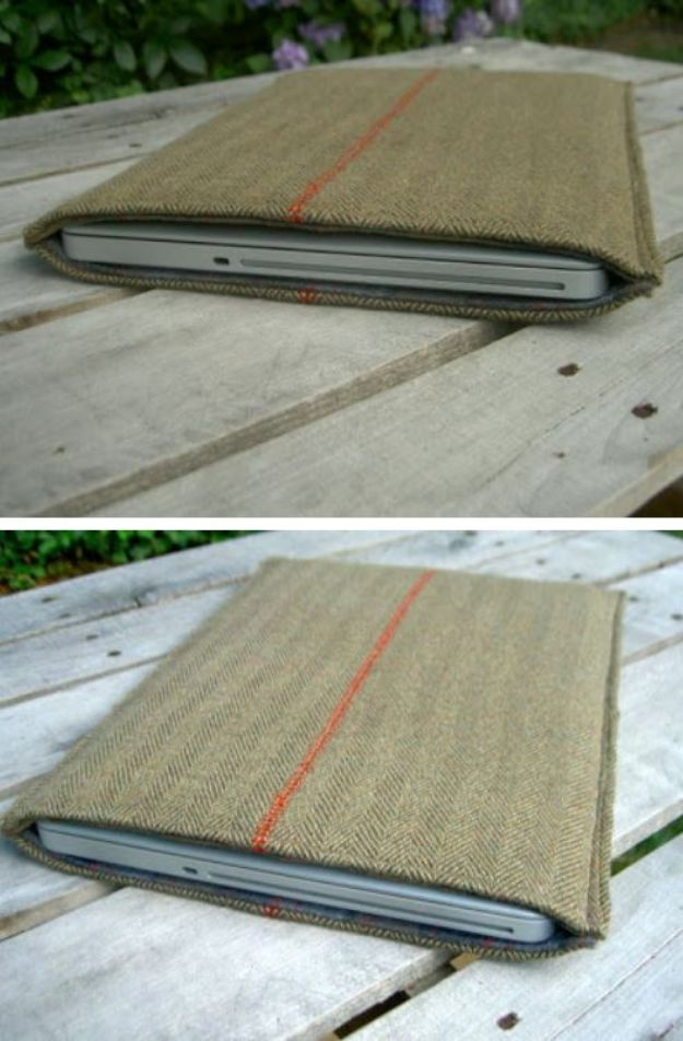 DIY Laptop Bags - DIY Wool Sportcoat Repurposed Into Laptop Sleeve - Easy Bag Projects to Make For Your Computer - Cool and Cheap Homemade Messnger Bags, Cases for Laptops - Shoulder Bag and Briefcase, Backpack