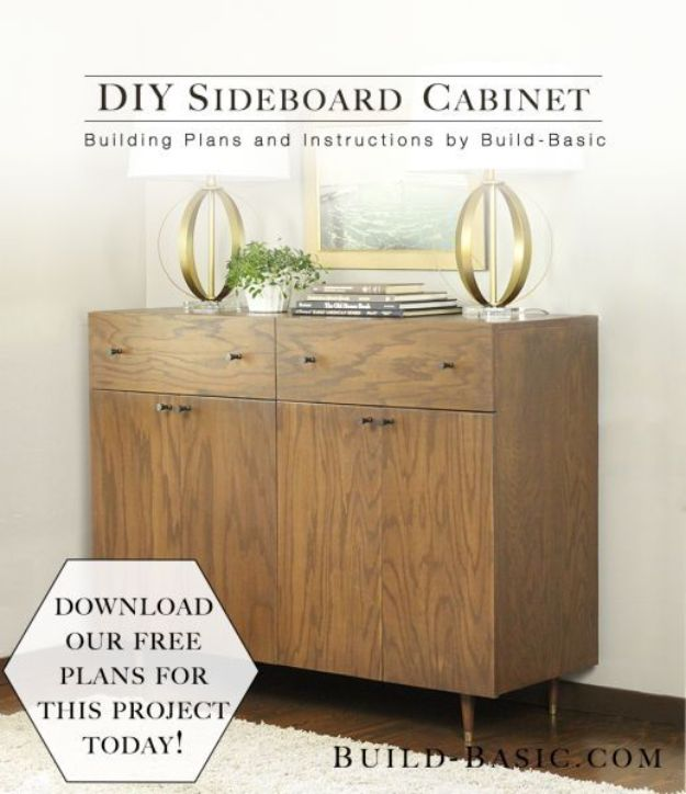 DIY Sideboards - Easy DIY Sideboard Cabinet - Easy Furniture Ideas to Make On A Budget - DYI Side Board Tutorial for Makeover, Building Wooden Home Decor