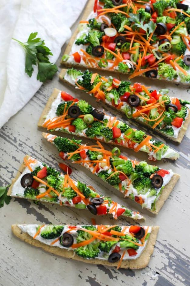 Potluck Recipe Ideas - Gluten-free Veggie Pizza - Easy Recipes to Take To Potlucks - Dinner Casseroles, Salads, One Pot Meals, Pasta Dishes, Quick Crockpot Recipes