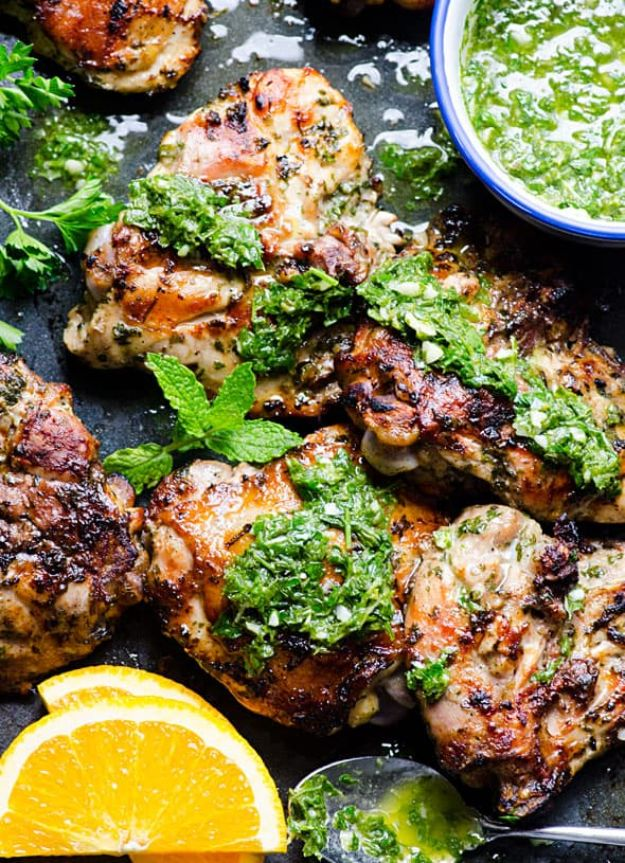 Potluck Recipe Ideas - Grilled Chimichurri Chicken - Easy Recipes to Take To Potlucks - Dinner Casseroles, Salads, One Pot Meals, Pasta Dishes, Quick Crockpot Recipes