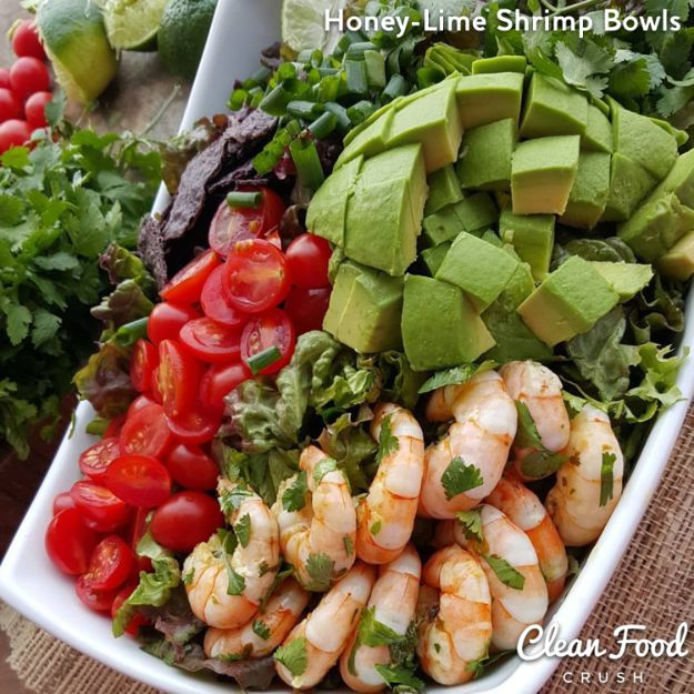 Recipes for Clean Eating - Honey-Lime Shrimp Bowls with Homemade Clean Dressing - Raw and Whole Foods, Unprocessed Meal and Snack Ideas for Lunch and Dinner - Fresh, Healthy Foods and Recipe Ideas
