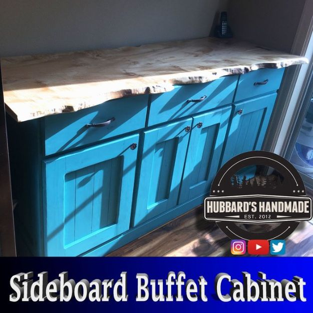 DIY Sideboards - Painted Sideboard Buffet Cabinet From Plywood and Pine Boards - Easy Furniture Ideas to Make On A Budget - DYI Side Board Tutorial for Makeover, Building Wooden Home Decor