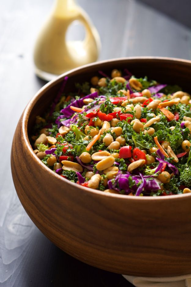 Recipes for Clean Eating - Rainbow Kale Power Salad - Raw and Whole Foods, Unprocessed Meal and Snack Ideas for Lunch and Dinner - Fresh, Healthy Foods and Recipe Ideas