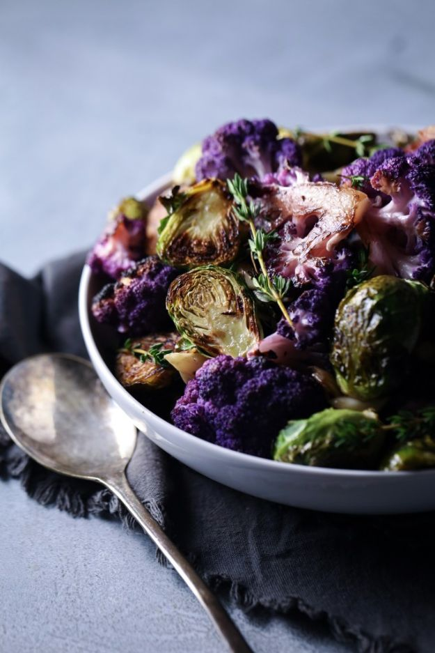 Recipes for Clean Eating - Roasted Cauliflower Brussel Sprouts - Raw and Whole Foods, Unprocessed Meal and Snack Ideas for Lunch and Dinner - Fresh, Healthy Foods and Recipe Ideas