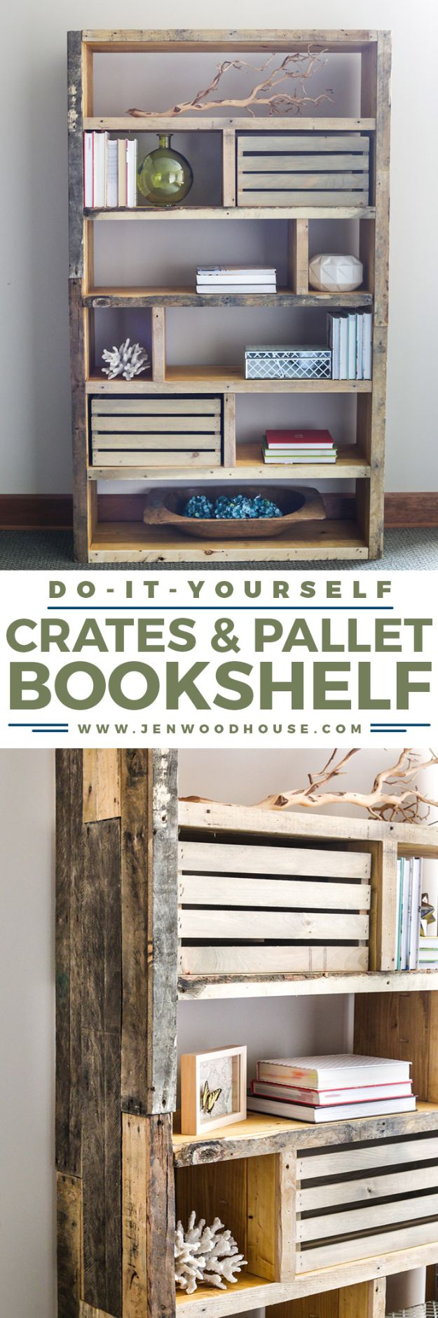 DIY Bookshelf Ideas - Rustic Bookshelf from Crates and Pallet - DYI Bookshelves and Projects - Easy and Cheap Home Decor Idea for Bedroom, Living Room - Step by Step tutorial #diy #diyideas #diydecor #homedecor