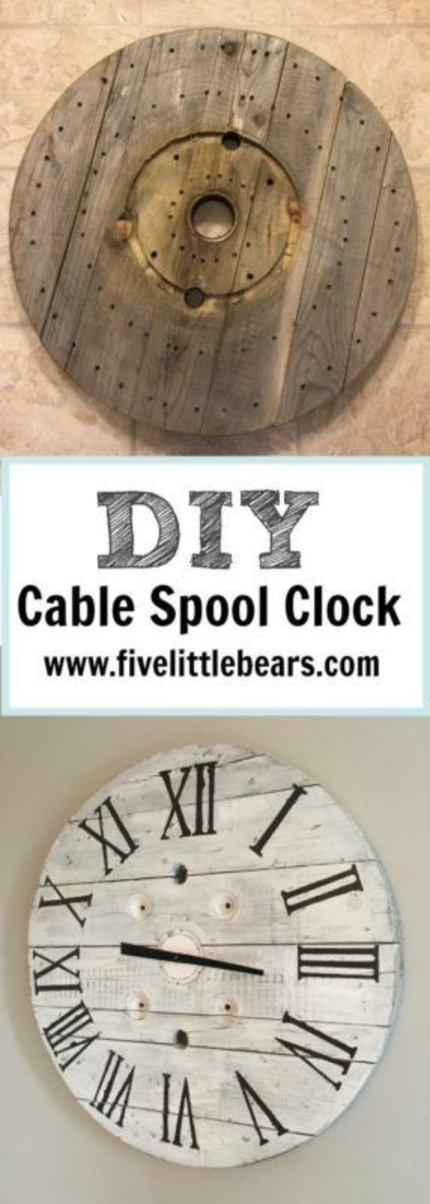 DIY Clocks - DIY Cable Spool Clock - Easy and Cheap Home Decor Ideas and Crafts for Wall Clock - Cool Bedroom and Living Room Decor, Farmhouse and Modern