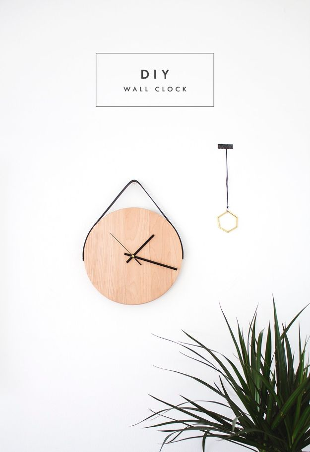 DIY Clocks - DIY Minimal Wall Clock - Easy and Cheap Home Decor Ideas and Crafts for Wall Clock - Cool Bedroom and Living Room Decor, Farmhouse and Modern