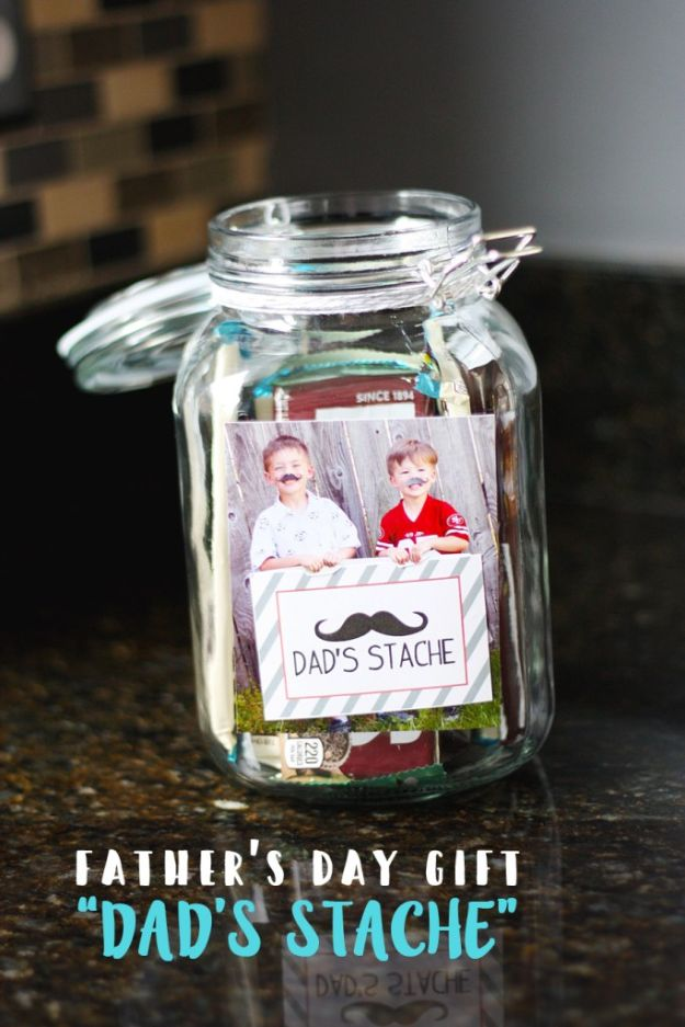 DIY Fathers Day Gifts - Father's Day Gift - Dad's Stache - Homemade Presents and Gift Ideas for Dad - Cute and Easy Things to Make For Father