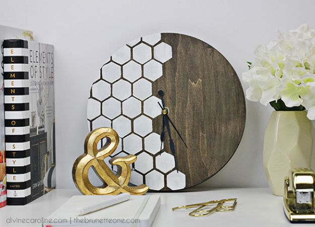 DIY Clocks - Honeycomb DIY Wall Clock - Easy and Cheap Home Decor Ideas and Crafts for Wall Clock - Cool Bedroom and Living Room Decor, Farmhouse and Modern
