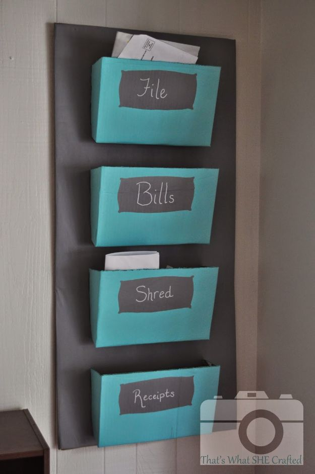 DIY Mail Organizers - Cardboard Mail Sorter - Cheap and Easy Ideas for Getting Organized - Creative Home Decor on A Budget - Farmhouse, Modern and Rustic Mail Sorter, Organizer