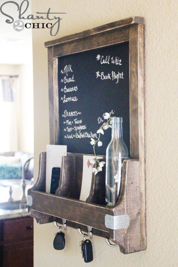 DIY Mail Organizers - DIY Chalkboard and Key Hooks - Cheap and Easy Ideas for Getting Organized - Creative Home Decor on A Budget - Farmhouse, Modern and Rustic Mail Sorter, Organizer