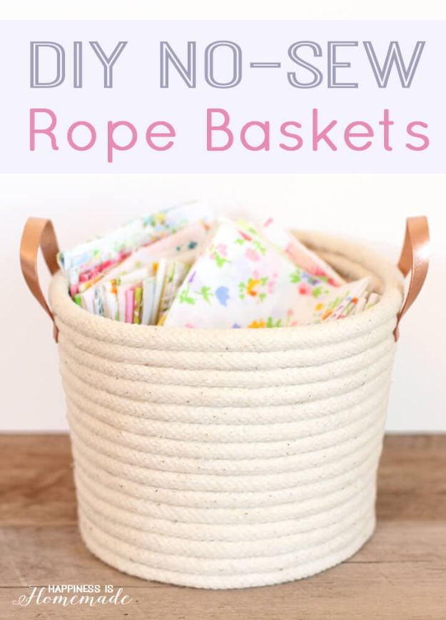 DIY Storage Baskets - DIY No Sew Rope Baskets - Cheap and Easy Ideas for Getting Organized - Creative Home Decor on A Budget - Farmhouse, Modern and Rustic Basket Projects