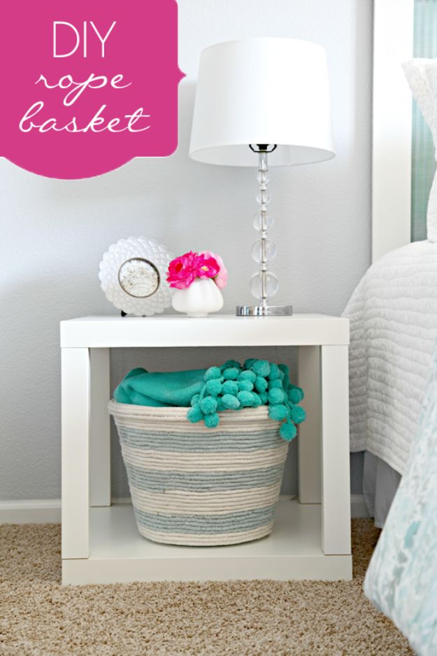 DIY Storage Baskets - DIY Rope Basket - Cheap and Easy Ideas for Getting Organized - Creative Home Decor on A Budget - Farmhouse, Modern and Rustic Basket Projects