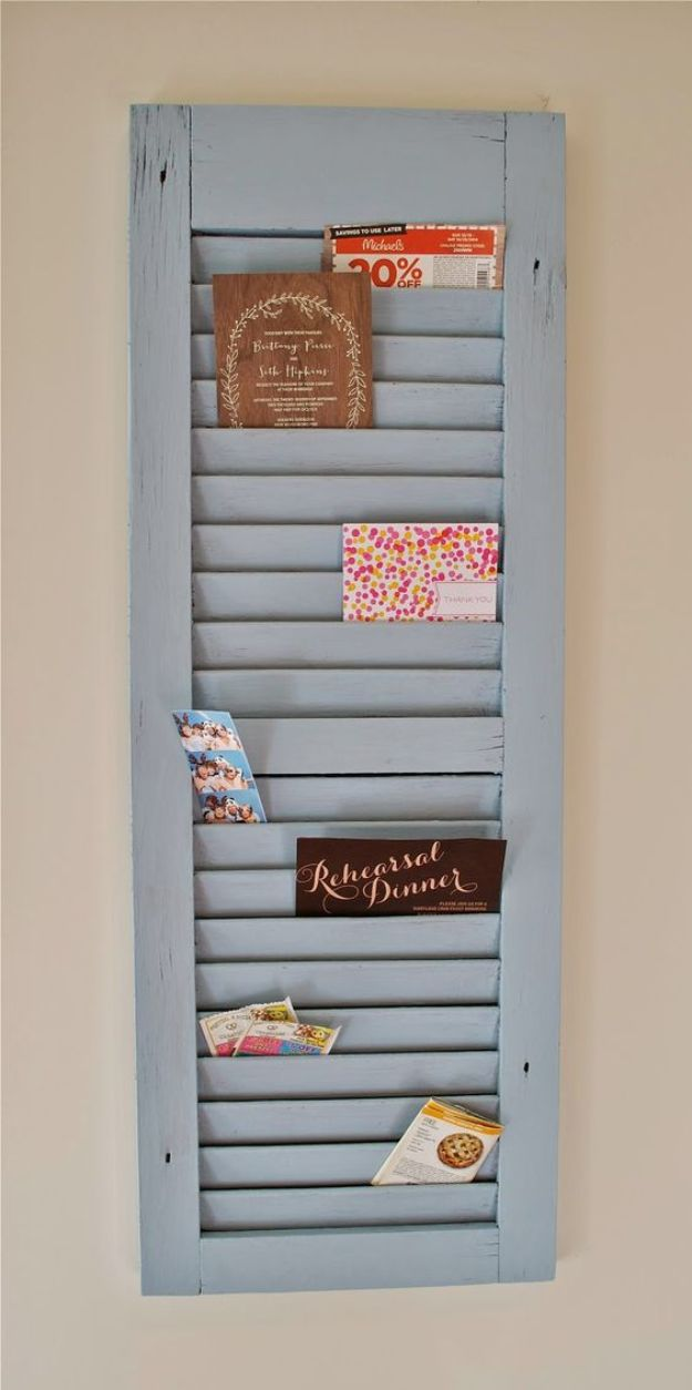 DIY Mail Organizers - DIY Shutter Mail Organizer - Cheap and Easy Ideas for Getting Organized - Creative Home Decor on A Budget - Farmhouse, Modern and Rustic Mail Sorter, Organizer